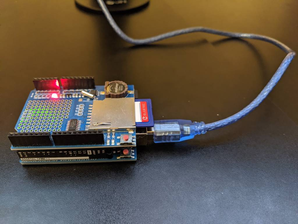 The Arduino UNO r3 with a Deek Robot SD/RTC shield installed