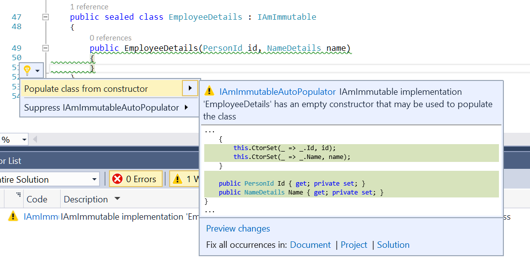 Screenshot showing the code fix that may auto-populate the incomplete IAmImmutable implementation